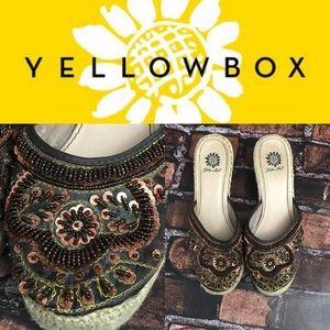YellowBox Brown Sequin Boho Wedges